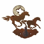Burnished Running Horses Metal Robe Hook