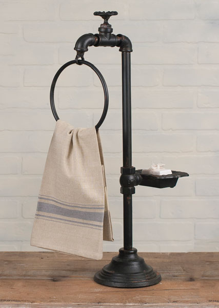 Rustic Brown Spigot Soap Dish And Hand Towel Holder Bathroom Accessories Soap Holders