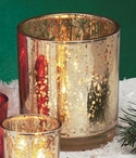 Rustic Gold Glass Pillar Candle Holders, Set of 4