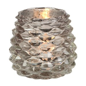 Rustic Gold Pinecone Glass Votive Candle Holders Set Of 4