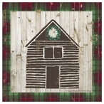 Rustic House with Christmas Wreath Beverage Coasters, Set of 12