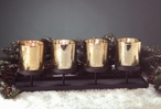 Rustic Metal Quad Votive Candle Holder with Gold Glass Holders