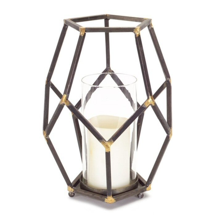 Rustic Open Design Metal Pillar Candle Holder With Glass