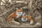 Rustic Retreat Red Fox Wrapped Canvas Giclee Art Print Wall Art