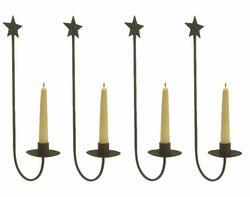 Rustic Star Wall Sconces : Rustic Star Wall Taper Candle Holder Sconce, Set of 4 - Candle Holders - Wall Decor