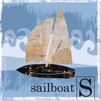 S is for Sailboat Wrapped Canvas Giclee Print Wall Art