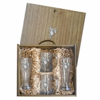 Saddle Pilsner Glasses & Beer Mugs Box Set with Pewter Accents
