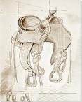 Saddle Sketch 1 Wrapped Canvas Giclee Print Wall Art