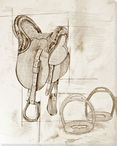 Saddle Sketch 3 Wrapped Canvas Giclee Print Wall Art