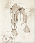 Saddle Sketch 4 Wrapped Canvas Giclee Print Wall Art