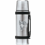 Saddle Stainless Steel Thermos with Pewter Accent