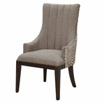 Safari Two Toned Channel Back Wood Chair with Nail Head Trim