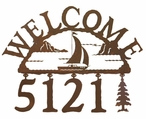 Sail Boat Metal Address Welcome Sign