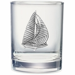 Sail Boat Pewter Accent Double Old Fashion Glasses, Set of 2