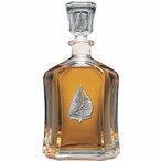 Sailboat Capitol Glass Decanter with Pewter Accents