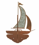 Burnished Sailboat Double Metal Wall Hook