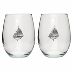 Sailboat Pewter Accent Stemless Wine Glass Goblets, Set of 2