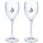 Sailboat Pewter Accent Wine Glass Goblets, Set of 2