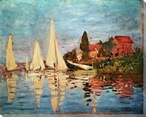 Sailboats at Argenteuil Wrapped Canvas Giclee Print Wall Art