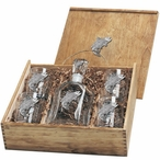 Salmon Fish Capitol Decanter & DOF Glasses Box Set with Pewter Accents