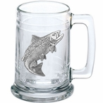 Salmon Fish Glass Beer Mug with Pewter Accent