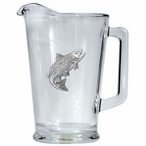 Salmon Fish Glass Pitcher with Pewter Accent