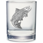 Salmon Fish Pewter Accent Double Old Fashion Glasses, Set of 2