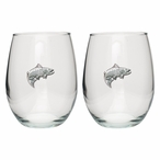 Salmon Fish Pewter Accent Stemless Wine Glass Goblets, Set of 2