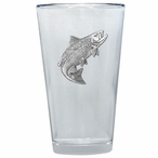 Salmon Fish Pint Beer Glasses with Pewter Accent, Set of 2