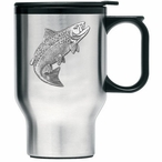 Salmon Fish Stainless Steel Travel Mug with Handle and Pewter Accent