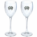 Sand Crab Pewter Accent Wine Glass Goblets, Set of 2