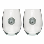 Sand Dollar Pewter Accent Stemless Wine Glass Goblets, Set of 2