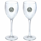 Sand Dollar Pewter Accent Wine Glass Goblets, Set of 2
