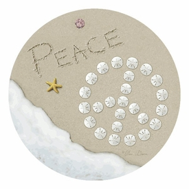 Sand Writing Peace Round Beverage Coasters by Alan Giana, Set of 8