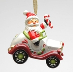 Santa Driving Car Christmas Tree Ornaments by Laurie Furnell, Set of 4