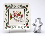 Santa Flying a Plane Plates with Cookie Cutter by L Furnell, Set of 3
