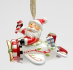 Santa Flying an Airplane Tree Ornaments by Laurie Furnell, Set of 4