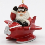 Santa Flying in a Red Airplane Christmas Tree Ornaments, Set of 4