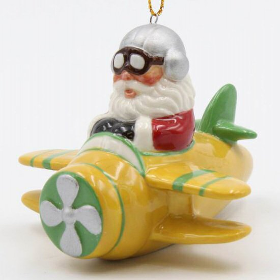 Santa Flying in a Yellow Airplane Christmas Tree Ornaments, Set of 4 - Santa Flying In A Yellow Airplane Christmas Tree Ornaments, Set Of 4