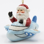 Santa Flying in an Airplane Christmas Tree Ornaments, Set of 4