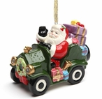 Santa in a Car LED Musical Christmas Tree Ornaments, Set of 2