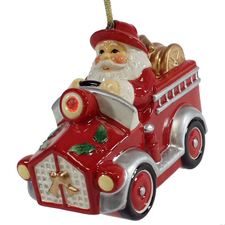 santa in a fire truck christmas tree ornaments set of 2 - Christmas Tree Ornaments Sets
