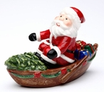 Santa in a Row Boat Porcelain Salt and Pepper Shakers, Set of 4