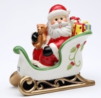 Santa in His Sleigh Salt & Pepper Shakers by Laurie Furnell, Set of 4
