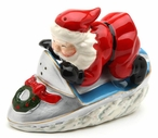 Santa on a Snowmobile Porcelain Salt and Pepper Shakers, Set of 4