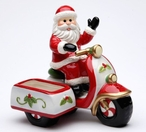 Santa Riding a Scooter Salt and Pepper Shakers by L Furnell, Set of 4