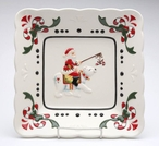 Santa Riding Polar Bear Porcelain Plates by Laurie Furnell, Set of 2