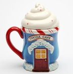 Santa's Village Covered Porcelain Mugs by Laurie Furnell, Set of 2