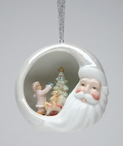 Santa with Child Decorating Tree Christmas Tree Ornaments, Set of 4
