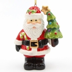 Santa with Christmas Tree and Candy Cane Ornaments, Set of 4